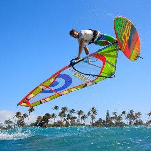 Neil pryde Windsurfing action shot